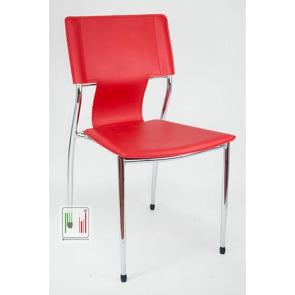 Sedia da attesa con struttura cromata e seduta in PVC