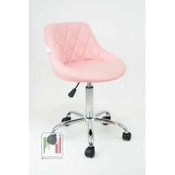 Gaia sedia sgabellino in ecopelle con struttura cromata girevole e regolabile