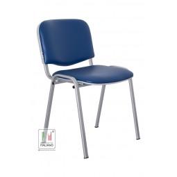 Venere sedia da attesa con struttura color alluminio e seduta e schienale in ecopelle