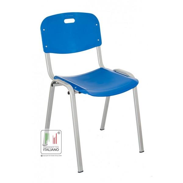 Sedia da attesa fissa con struttura in metallo e seduta in plastica