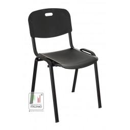 Sedia da attesa fissa con struttura in metallo con seduta in plastica