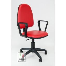 Girevole Nera Ecopelle da scrivania con braccioli e seduta e schienale in ecopelle